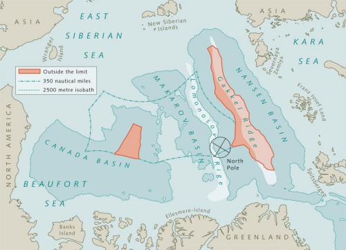 10.8 > Prolongation of the continental shelf in the Arctic. The Gakkel Ridge is shown in red on the right. The area marked in red on the left cannot be claimed by any littoral state as it is circumscribed by the 2500 metre sobath. The Lomonosov Ridge lies to the left of the Gakkel Ridge between two 2500 metre isobaths. ©maribus (after Macnab et al., 2001)