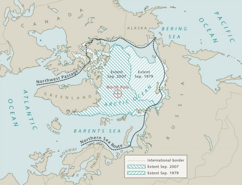 10.9 >  The area covered by Arctic sea ice has been shrinking for many years, offering access to untapped oil and gas deposits during the summer months in future. It could also open up new shipping routes, such as the Northwest Passage and Northern Sea Route, which are much shorter than the Panama and Suez Canal routes. ©maribus (after Kaleschke, Klimacampus University of Hamburg)
