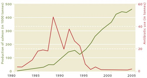 4.12 > The example of Norway shows that the intensification and professionalization of production can lead to improvements. Despite increasing numbers of salmon, the use of antibiotics in the Norwegian salmon farming industry has declined. © after Asche (2008) und Hall et al. (2011)
