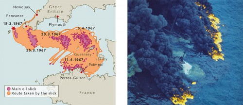 fig. 1.30 > In March 1967, the Torrey Canyon hit rocks off the south coast of England. The oil from the stricken tanker caused massive pollution along the coast of southern England, and within three weeks had drifted as far as Brittany and Normandy in France. ©  Meteo France Mothy;  fig. 1.31 > The Royal Air Force dropped bombs in an attempt to sink the vessel and its remaining cargo, igniting the oil slick. The pall of smoke from the burning oil was visible more than 60 miles away. © Time & Life Pictures/Getty Images