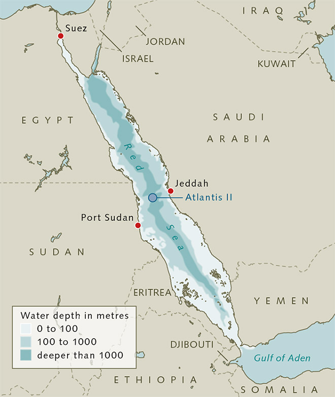 fig. 2.34 > The Atlantis II Deep lies in the middle of the Red Sea. Metal-rich sulphide brines rest at its bottom. © maribus