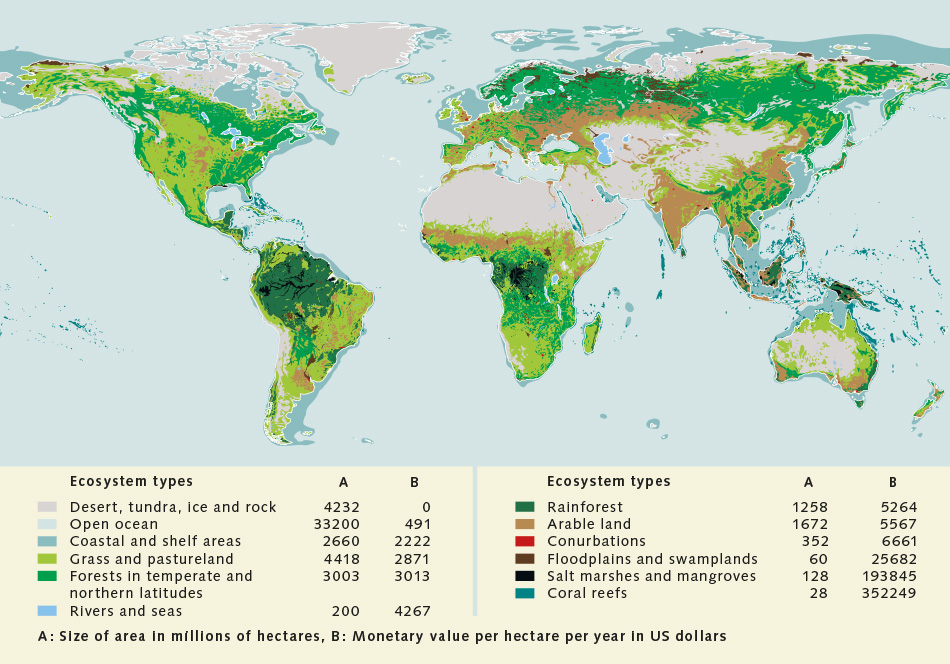 The value of nature world ocean review 112 world map with the different ecosystem types and the calculated values of publicscrutiny Images