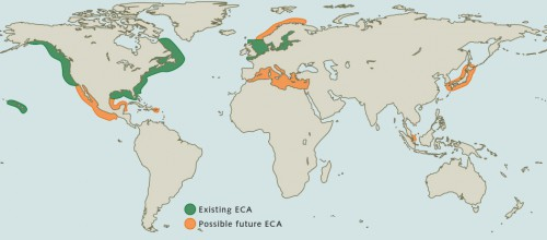 fig. 4.7: Emission Control Areas (ECAs) are sea areas in which shipping is subject to stricter emissions limits. Environmental organizations are calling for ECAs to be established in other coastal regions with a high volume of shipping traffic. © EPA