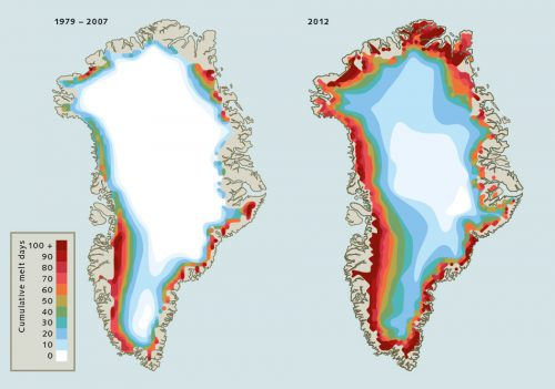 fig. 3.15: Scientists expect that, with global warming, thawing of the Greenland ice sheet will intensify in the future. Particularly acute melting was observed in the year 2012. Due to exceptionally mild air temperatures in this year, thawing on the surface of the glaciers persisted for many more days over large parts of the island than the annual average of the years from 1979 to 2007. © National Snow & Ice Data Center (NSIDC)