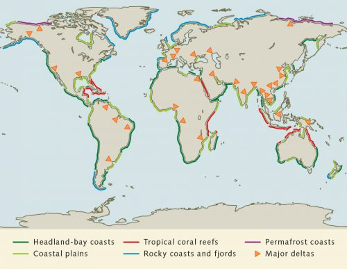 fig. 1.20: The Earth's coasts can be roughly divided into six different categories. © after Inman et al.