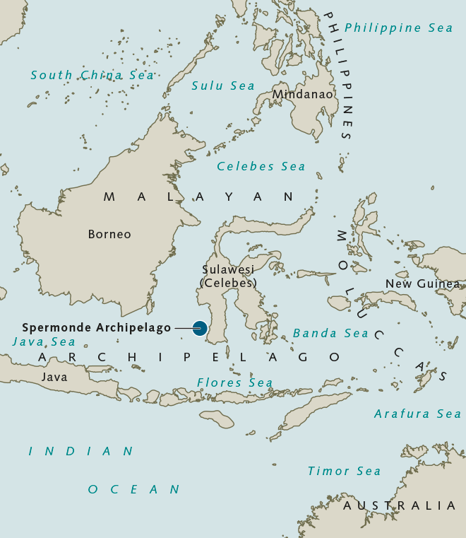 fig. 2.39: The Spermonde Archipelago is centrally located in the island state of Indonesia, just off the south-western tip of Sulawesi. Some 70 coral islands make up this archipelago. © maribus