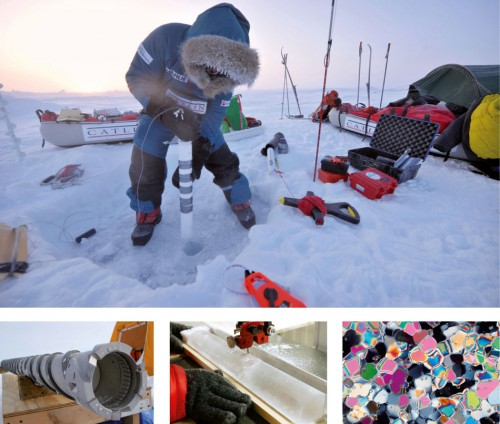 2.6 > By studying ice cores scientists want to discover which organisms live in the ice. Air bubbles in Antarctic ice cores also provide clues to the presence of trace gases in the former atmosphere, and to past climate. The ice cores are drilled using powerful tools. For more detailed study they are analysed in the laboratory. When ice crystals are observed under a special polarized light, their fine ­structure reveals shimmering colours. Fig. 2.6: top: © Martin Hartley/eyevine/interTOPICS; left: © mauritius images; center: © Carmen Jaspersen/picturealliance/dpa; right: © Cliff Leight/Aurora Photos