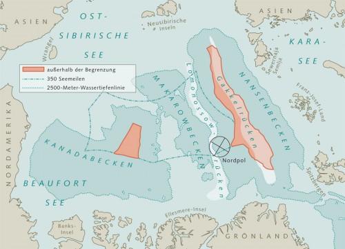 10.8 > Ausdehnung der Festlandsockel in der Arktis. Der Gakkel-Rücken ist als rote Fläche rechts dargestellt. Die linke rote Fläche kann aufgrund der 2500-Meter-Wassertiefenlinie von keinem Anrainerstaat beansprucht werden. Der Lomonossow-Rücken liegt links des Gakkel-Rückens zwischen den beiden 2500-Meter-Wassertiefenlinien. ©maribus (nach Macnab et al., 2001)