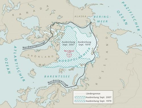 10.9 > Die Fläche des arktischen Meereises nimmt seit vielen Jahren ab. Damit wird das Eis im Sommer künftig den Zugang zu unerschlossenen Erdgas- und Erdölvorkommen freigeben. Zudem ergeben sich mit der Nordost- und der Nordwestpassage neue Schifffahrtswege, die kürzer als die Strecke durch Panama- und Suezkanal sind. ©maribus (nach Kaleschke, Klimacampus Universität Hamburg)