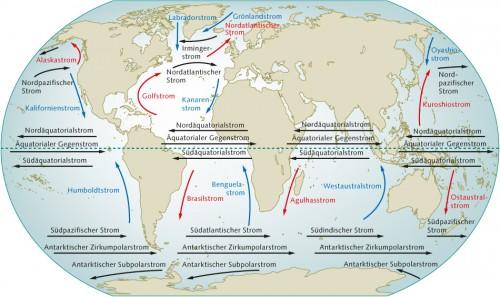 1.10 > Die großen Meeresströme der Welt sind auch das Ergebnis der vorherrschenden Winde.  Warme Meeresströme sind rot, kühle Meeresströme blau gekennzeichnet. Abb. 1.10: ©maribus