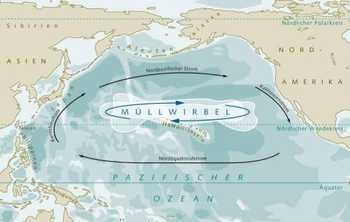 4.12 > Im Great Pacific Garbage Patch zwischen Hawaii und Nordamerika kreisen Unmengen von Müll. Viele Plastikteile trieben Tausende von Kilometern über das Meer, ehe sie vom Wasserwirbel eingefangen wurden. ©maribus