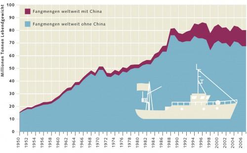 6.4 > Entwicklung der marinen Fangmengen seit 1950 weltweit. ©maribus (nach FAO)