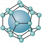 2.18 &gt; In hydrates, the gas (large ball) is enclosed in a cage formed by water ­molecules. Scientists call this kind of ­molecular arrangement a clathrate.<br /> © maribus