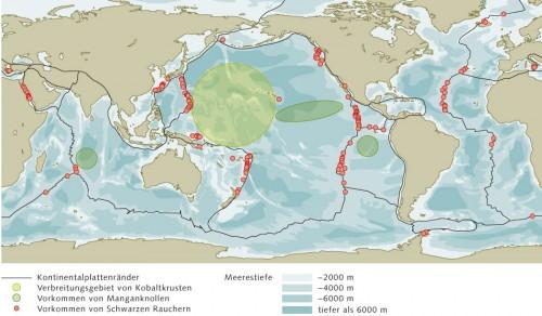 7.4 > Der Meeresboden steckt voller Rohstoffe. Je nach  Ursprung konzentrieren sie sich in bestimmten Regionen. ©maribus (nach Petersen)