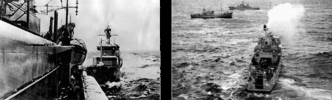 """6.7 > Kampf um Fisch: Welche Bedeutung der Wirtschaftsfaktor Fischerei für manche Nationen hat, wurde während der Kabeljaukriege im Nordostatlantik deutlich. Im Streit um die Fanggründe schickten England und Island sogar Kriegsschiffe los. Am 7. Januar 1976 kollidierte das isländische Patrouillenboot """"Thor"""" (links, hinten) etwa 35 Seemeilen vor der isländischen Küste mit der britischen Fregatte """"Andromeda"""" (vorn). Aus britischer Sicht kam es zu dem Zusammenstoß, nachdem die """"Thor"""" versucht hatte, die Fangnetze des britischen Trawlers """"Portia"""" (rechts, Mitte) zu kappen. Bei dem Manöver änderte die """"Thor"""" abrupt den Kurs und rammte die Fregatte. Die Nationen waren so zerstritten, dass Island zeitweilig sogar die diplomatischen Beziehungen zu Großbritannien abbrach."""