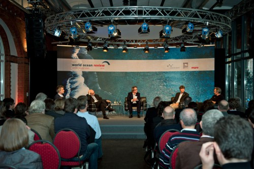 "panel discussion ""Living with the oceans"": (from left)  Nikolaus Gelpke (managing director of maribus gGmbH and marevelag publisher), Paul F. Nemitz (Head of Unit, Maritime Policy Development and Coordination, European Commission), moderator Gerald Traufetter ("