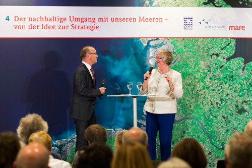 "Gesine Meißner, MEP and chair of the intergroup "" Seas, Rivers, Islands and Coastal Areas"" discussing with Karsten Schwanke, television presenter and meteorologist"