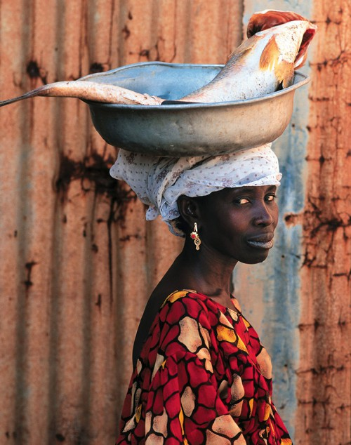 2.10 > A Senegalese fish seller carries a large fish, a capitaine. In West Africa fish are usually sold fresh as there are often no means of refrigeration. © Patrick De Wilde/laif