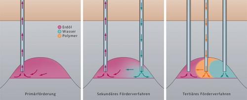 Abb. 1.20 >  Die Ölförderung wird in 3 Phasen unterteilt: Bei der Primärförderung fließt das Öl zunächst von selbst ins Bohrloch. Später halten Pumpen den Ölfluss aufrecht. Bei der sekundären Förderung wird Wasser in die Lagerstätte gepumpt, um den Lagerstättendruck künstlich zu erhöhen.  Um zu verhindern, dass das eingepresste Wasser am Öl vorbei ins Bohrloch strömt, wird bei der tertiären Förderung zwischen Wasser und Öl ein Polymer injiziert. Alternativ lässt sich die Zähflüssigkeit des Öls durch Einpumpen von Heißwasser oder  Lösemitteln verringern.  © maribus