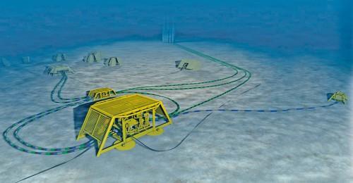 Abb. 1.29 > Gas und Öl werden in großer Tiefe immer öfter mit Subsea-Anlagen gewonnen, die auf dem Meeresboden liegen. Diese Anlagen sind modular aufgebaut. Einzelne Komponenten wie Bohrlochköpfe oder Kompressoren sind über Leitungen zu Ensembles verknüpft. © FMC Technologies/statoil ASA