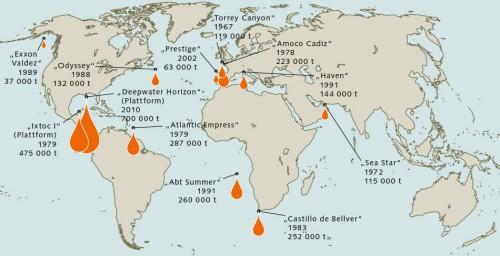 """1.40 > Die Explosion der """"Deepwater Horizon"""" ist der größte Ölunfall aller Zeiten. Die Karte zeigt die 10 größten Unglücke und weitere Unfälle. © maribus"""