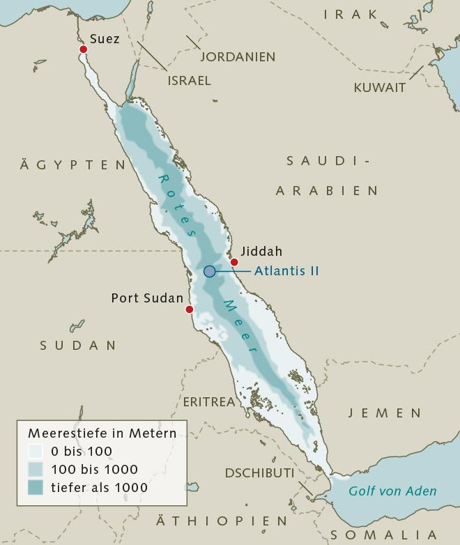 Abb. 2.33 > Das Atlantis-II-Tief liegt mitten im Roten Meer. An seinem Grund gibt es metallreiche Sulfidschlämme. © maribus