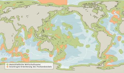 Abb. 4.6 > Durch die Erweiterung der Ausschließlichen Wirtschaftszonen (grün) der Küstenstaaten bis in den Bereich des äußeren Festlandsockels (orange) verringert sich das internationale Meeresgebiet. Der Staatengemeinschaft gehen damit Flächen verloren. Die Antarktis wiederum hat einen Sonderstatus. Dort beanspruchen zwar einige Staaten eine eigene AWZ wie hier in der Grafik eingezeichnet. Doch sind diese Territorialforderungen völkerrechtlich nicht anerkannt. ©  nach GRID-Arendal