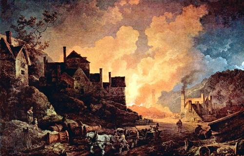 Abb. 1.10: Einer der ersten Hochöfen im englischen Coalbrookdale im Jahr 1801. Während der industriellen Revolution ereignete sich in der Ökonomie ein Paradigmenwechsel. Für viele Experten verloren der Faktor Boden und die Leistungen der Natur an Bedeutung. Als entscheidend für das Wirtschaftswachstum wurde allein der Einsatz von Sachkapital angesehen. © http://de.wikipedia.org/wiki/Coalbrookdale (Stand: Oktober 2015)