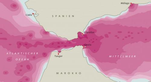 Abb. 2.15: Auch Lärm verschmutzt die Meere. Französische Forscher veröffentlichten 2014 erstmals eine Karte der Schallbelastung in der viel befahrenen Straße von Gibraltar. Die Rotfärbung veranschaulicht dabei die Höhe des Schallpegels – je röter, desto lauter. © nach Folegot/Quiet-Oceans