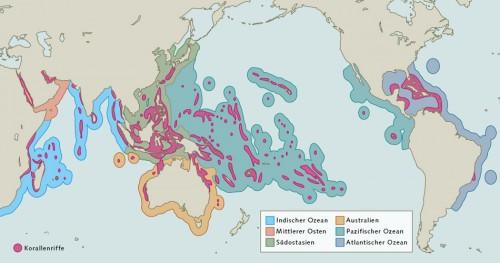 Abb. 2.22: Das Verbreitungsgebiet tropischer Korallen umfasst ungefähr den Bereich zwischen 30 Grad nördlicher und 30 Grad südlicher Breite. Um zu untersuchen, wie bedroht die Korallenriffe sind, haben Forscher verschiedene Regionen, in denen Korallen vorkommen, miteinander verglichen. © World Resources Institute