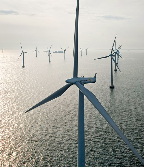 fig. 3.12: Wind farms in the sea can make a substantial contribution to the electricity supply. Before they are constructed, though, sites should always be assessed to ensure that sensitive marine habitats will not be destroyed. © www.paul-langrock.de