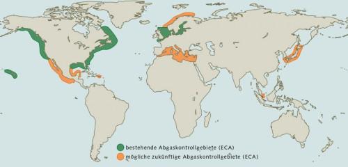 Abb. 4.7: In den Abgaskontrollgebieten (Emission Control Areas, ECAs) gelten besonders strenge Abgasgrenzwerte für Schiffe. Umweltschutzverbände fordern, auch in anderen viel befahrenen Küstenregionen ECAs einzurichten. © EPA