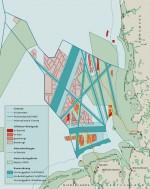 Abb. 4.19: Für die deutsche AWZ gibt seit 2009 ein Raumordnungsplan vor, in welchen Gebieten bestimmte Nutzungen erlaubt sind. Dieser Auszug aus dem Raumordnungsplan zeigt zum Beispiel, dass Windparks nur außerhalb der Natura-2000-Schutzgebiete und in beträchtlichem Abstand zu den Schifffahrtswegen errichtet werden dürfen. © nach BSH