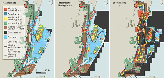 Abb. 4.21: Zur besseren Veranschaulichung einer möglichen zukünftigen Entwicklung hat man bei der Meeresraumplanung in Belize 3 alternative Szenarien entwickelt. Das Land an der mittelamerikanischen Atlantikküste hat sich für das Informed Management entschieden, jene Strategie, die eine bedächtige Entwicklung vorsieht, ohne die Küstenlebensräume überzustrapazieren. Deutlich sieht man, dass die Ölförderung nur an den Rändern der Planungsgebiete erlaubt sein soll. © nach CZMAI