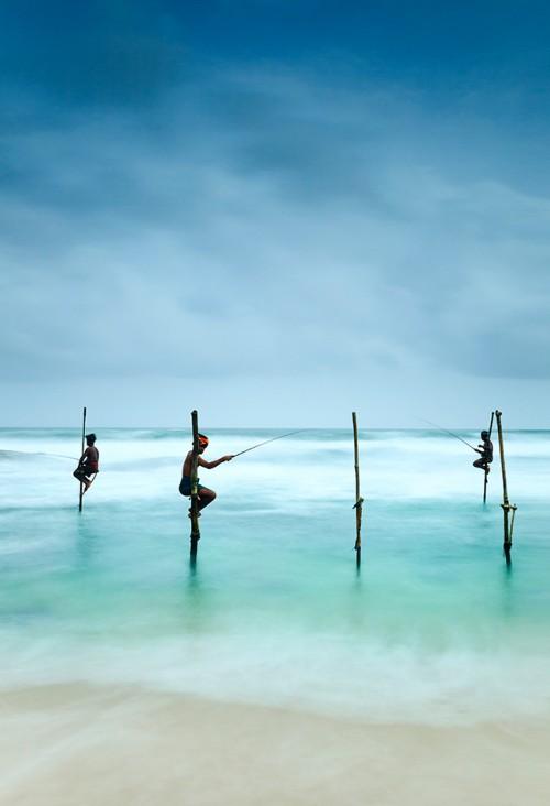 Abb. 4.23: Handwerkliche Fischerei ist auch heute noch in vielen Ländern von großer Bedeutung. Dabei gibt es von Land zu Land ganz verschiedene Fangmethoden – zum Beispiel die Stelzenfischerei, die die Menschen in der Nähe der Küstenstadt Galle auf Sri Lanka praktizieren © Kimberley Coole/Lonely Planet/Getty Images