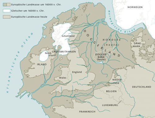 Abb. 1.13: Vor etwa 18000 Jahren war die Nordsee größtenteils Festland. Das damalige Gebiet zwischen dem heutigen Großbritannien, Dänemark, Deutschland und den Niederlanden wird als Doggerland bezeichnet, wobei die exakte Lage von Landmasse, Gletschern und Flüssen ungewiss ist. Mit dem Steigen des Meeresspiegels schrumpfte das Doggerland, bis es vor etwa 7000 Jahren ganz verschwand. © nach McNulty at al.