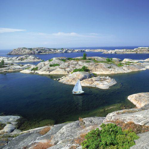Abb. 1.16: Die Stockholmer Schärenküste besteht aus sehr festem Granit und Gneis, die während der Eiszeit von Gletschern zu sanften Hügeln geschliffen wurden. © Nordic Photos/look- photos