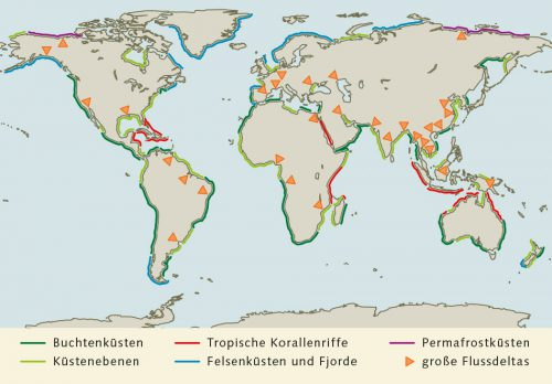 Abb. 1.20: Die Küsten der Erde lassen sich grob in sechs verschiedene  Kategorien einteilen. © nach Inman et al.
