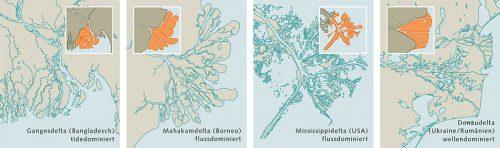 Abb. 1.26: Flussdeltas können unterschiedlich geformt sein. Letztlich wird ihre Gestalt durch das Wechselspiel der Kräfte bestimmt – der Gezeiten, der Brandung und der Strömung des Flusses. © maribus