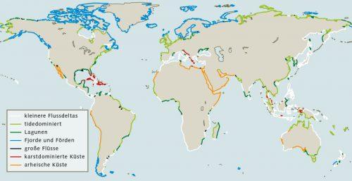 Abb. 1.28: Küsten lassen sich auch danach unterscheiden, wie stark sie Sedimente filtern, die über die Flüsse aus dem Binnenland herantransportiert werden. © Dürr et al.