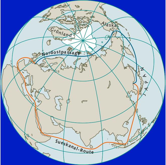 Abb. 2.20: Heute werden Güter aus Südostasien und China über den Sueskanal nach Europa geliefert. Mit dem verstärkten Abschmelzen der Eismassen in der Arktis könnte künftig während der Sommermonate die kürzere Route über die Nordostpassage interessant werden. © maribus