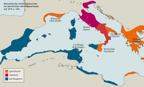 Abb. 2.2: Im 3. Jahrhundert vor Christus waren die wichtigsten Mächte im westlichen Mittelmeer Karthago, Rom und Griechenland. In den folgenden Jahrhunderten weitete vor allem Rom seinen Machtbereich aus. © Dörrbecker