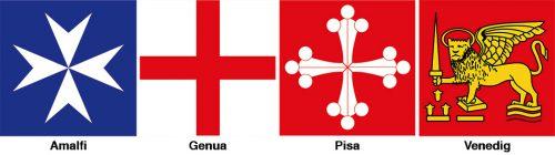 Abb. 2.3: Bis heute zieren die Wappen von Amalfi, Genua, Pisa und Venedig die Flagge der italienischen Marine. Die einstigen Stadtstaaten, groß geworden durch die Verknüpfung von Meer, Stadt und Land, hatten ihre Blütezeit im Mittelalter. © ug/fotolia.com