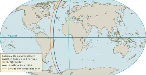 Abb. 2.4: Ende des 15. Jahrhunderts war der Einfluss der beiden Seemächte Portugal und Spanien so groß, dass Papst AlexanderVI. die Welt unter diesen aufteilte.  Die Gebiete westlich der blauen Linie im Atlantik wurde Spanien zugeschlagen, die Gebiete östlich Portugal. Im Vertrag von Tordesillas wurde die Demarkationslinie korrigiert. © maribus