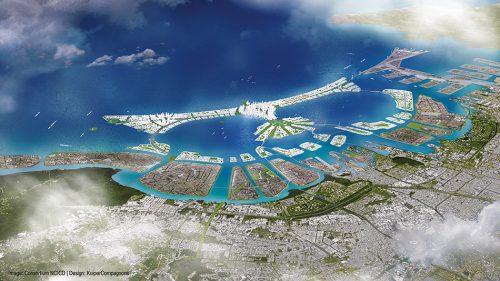 Abb. 2.33: Zum Schutz vor Überschwemmungen soll vor Jakarta eine künstliche Inselwelt aufgespült werden. Die größte Insel soll 10 Kilometer lang sein und die Form des indonesischen Wappenvogels erhalten. Doch das Projekt ist umstritten. Es wird befürchtet, dass sich Abwässer in der künstlichen Lagune sammeln könnten und Fischer ihre Lebensgrundlage verlieren. © Image: © Consortium NCICD/Design: © KuiperCompagnons