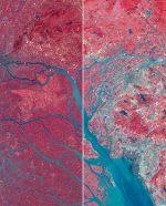 Abb. 2.35: In den vergangenen 40 Jahren hat sich das Perlflussdelta in China von einer landwirtschaftlichen zu einer hoch industriellen und bevölkerungsreichen Region entwickelt. Der linke Teil der Fotomontage ist eine Satellitenaufnahme aus dem Jahr 1979, der rechte stammt aus dem Jahr 2003. Rote Bereiche umfassen die Vegetation, graue die Bebauung. Blau erkennbar sind Wasserverläufe. © [M] mare, Fotos: © NASA image created by Jesse Allen Landsat 3 MSS data provided by the University of Maryland's Global Land Cover Facility. Landsat 7 ETM+ data provided courtesy of the Landsat Project Science Office, NASA/ GSFC