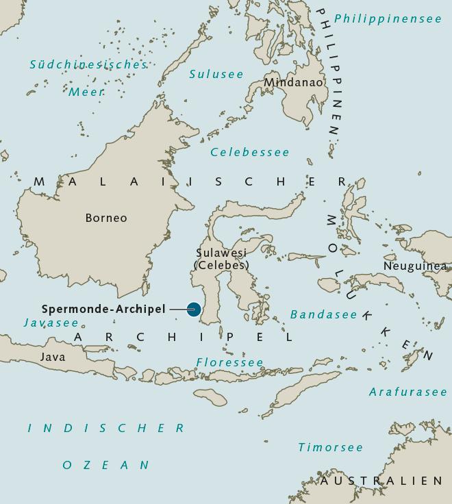 Abb. 2.39: Der Spermonde-Archipel liegt inmitten des Inselstaats Indonesien, unmittelbar vor der Südwestspitze von Sulawesi. Der Archipel besteht aus etwa 70 Koralleninseln. © maribus