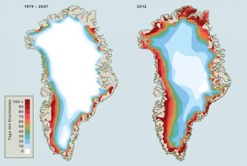 Abb. 3.15: Experten erwarten, dass die grönländische Eismasse mit der Erderwärmung künftig stärker tauen wird. Ein besonders starkes Schmelzen war bereits im Jahr 2012 zu beobachten. Wegen außergewöhnlich milder Lufttemperaturen hielt das Tauen an der Oberfläche der Gletscher in weiten Teilen der Insel für sehr viel längere Zeit an als im Durchschnitt der Jahre 1979 bis 2007. © National Snow & Ice Data Center (NSIDC)