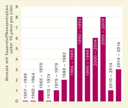 Abb. 3.7: In der Eckernförder Bucht hat seit Ende der 1950er-Jahre die Zahl der Monate zugenommen, in denen in 25 Meter Wassertiefe wenig Sauerstoff vorhanden ist. Dies wird auf die Erwärmung des Ostseewassers zurückgeführt. © Lennartz et al.