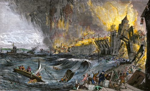 fig. 3.19: It was one of the most devastating natural disasters in the history of Europe. When the earth shook on 1 November 1755 in Lisbon, tens of thousands of people died beneath the rubble of buildings, in the fire storm, and in the floods of a tsunami. © North Wind Picture Archives/akg- images